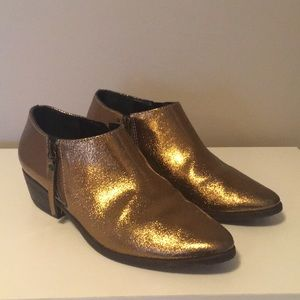 Schutz Bronze Leather Ankle Boots